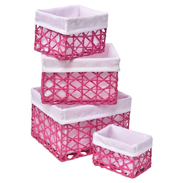 Beau Paper Rope Storage Utilities Baskets Totes Set Of 4 Pink