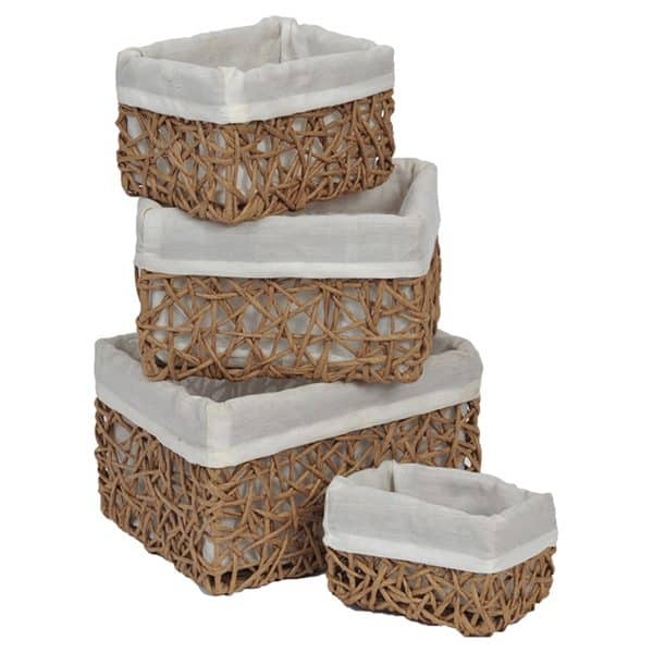 Paper Rope Storage Utilities Baskets Totes Set of 4 Beige