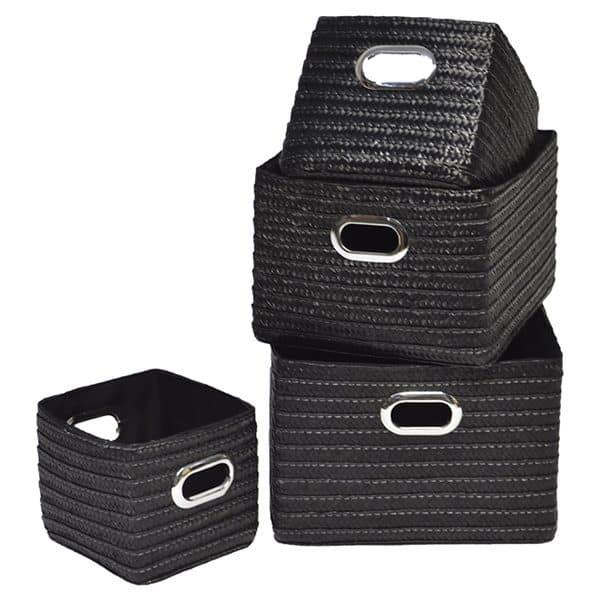 Rectangular Storage Utilities Shelf Baskets Storage, Handles, 4-Piece Set, Black