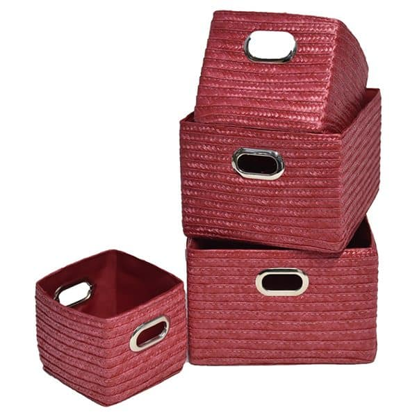 Rectangular Utilities Shelf Baskets Storage With Handles, 4-Piece Set, Red