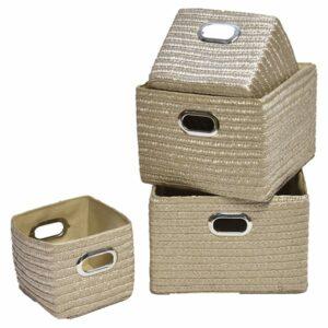 Rectangular Storage Utilities Shelf Baskets Storage, Handles, 4-Piece Set, Beige