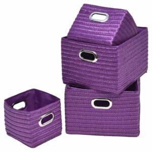 Rectangular Utilities Shelf Baskets Storage, Handles, 4-Piece Set, Purple