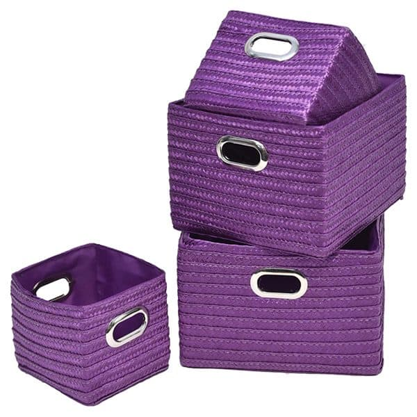Rectangular Utilities Shelf Baskets Storage, Handles, 4-Piece Set, Purple
