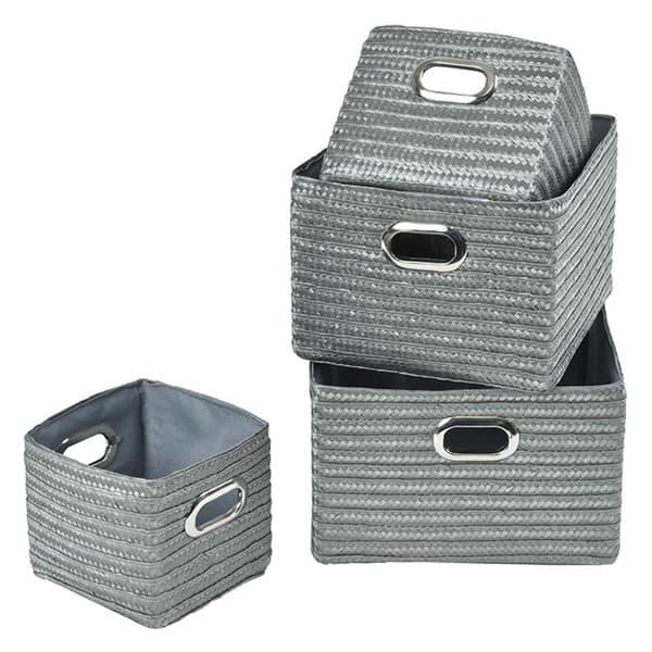 High Quality Rectangular Utilities Shelf Baskets Storage With Handles, 4 Piece Set, Gray