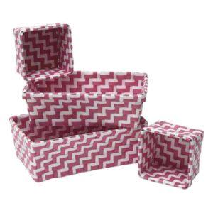 Checkered Woven Strap Storage Utilities Shelf Baskets Storage Zebra Set of 4 Fuchsia/White
