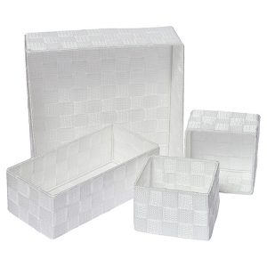 Checkered Woven Strap Storage Utilities Shelf Baskets Storage Set of 4 White