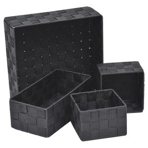 Checkered Woven Strap Storage Utilities Shelf Baskets Storage Set of 4 Black