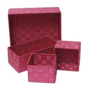Checkered Woven Strap Storage Utilities Shelf Baskets Storage Set of 4 Pink Fuchsia