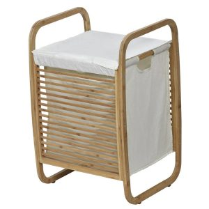 Laundry Hamper Basket Clothing Organizer Bamboo White Fabric
