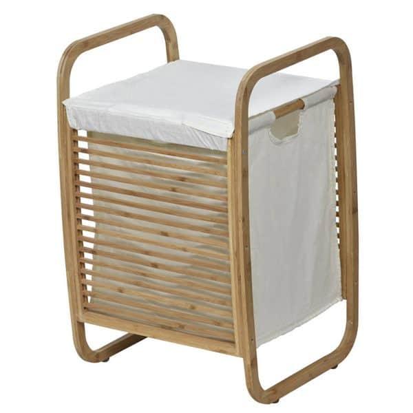 Laundry Hamper Basket Clothing Organizer Bamboo White Fabric