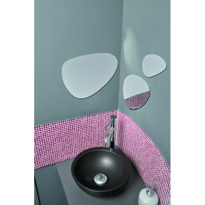 Decorative Wall Bathroom Self Adhesive Stone Shape Mirrors 3 Diameters - Set of 3