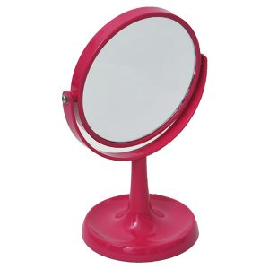 Magnifying Dual-Sided Vanity Mirror Countertop with Jewelry Round Base Organizer Fuchsia