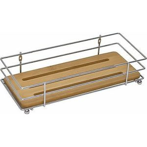 Bathroom Metal Wire Shelf Basket Organizer With Bamboo Tray Brown