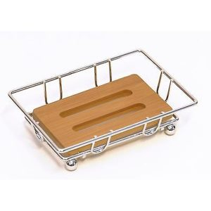 Bathroom Metal Wire Soap Dish Cup with Bamboo Tray Brown