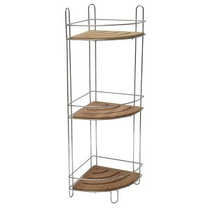 Free Standing Metal Wire Corner Shower Caddy with 3 Bamboo Shelves Color Brown