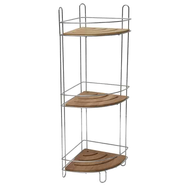 Evideco Free Standing Metal Wire Corner Shower Caddy With 3 Bamboo