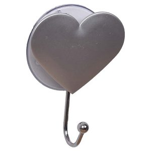 "Heart Hook Suction Mounted EVE 2.75""L X 3.62""H Silver"