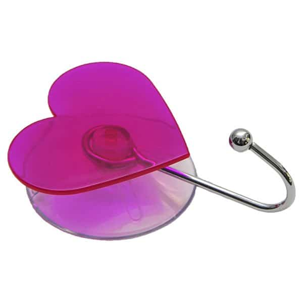 "Heart Hook Suction Mounted EVE 2.75""L X 3.62""H Purple Clear"