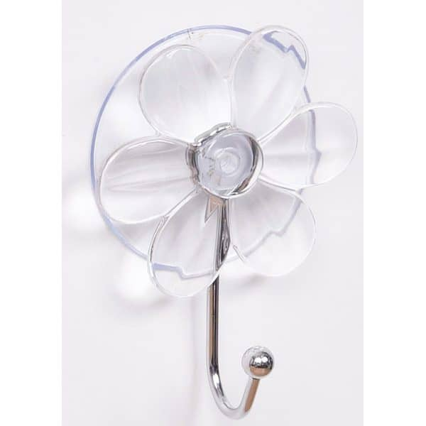 "Flower Hook Hanger Suction Mounted EVE 2.75""L X 3.93"" H Clear"
