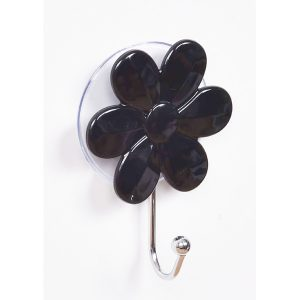 "Flower Hook Hanger Suction Mounted EVE 2.75""L X 3.93"" H Black"