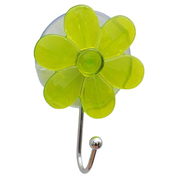"Flower Hook Hanger Suction Mounted EVE 2.75""l X 3.93"" H Green Clear"