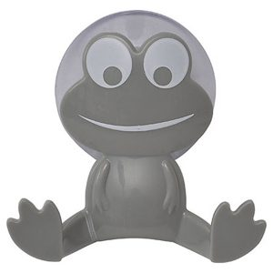 Kids Frog Wall Hook On Suction Pad Grey