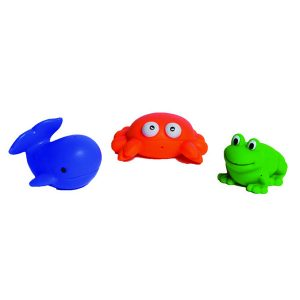 Set of 3 Non-Toxic Floating Bath Toys - Sea Life Animals-Crab-Whale-Frog -for Babies and Toddlers