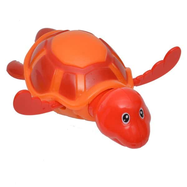 Funny Wind Up Swimmer Turtle Bathtub Baby Toy Red Orange