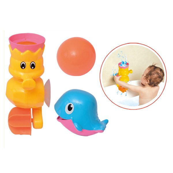 Bath Toy Gift Set Waterfall Seahorse Gear- Pouring Whale -Floating Ball- Water Toys for Babies and Toddlers