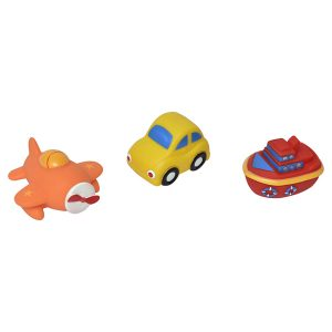 Set of 3 Non-Toxic Floating Bath Toys - Vehicles Squiter-for Babies and Toddlers