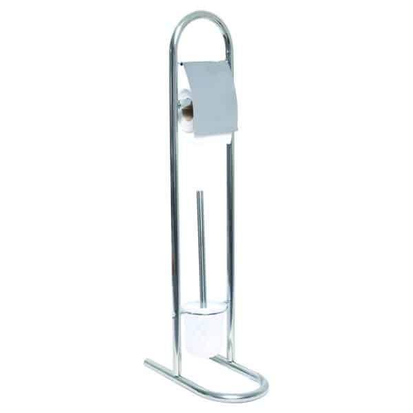 Stainless Steel Toilet Bowl Brush Holder Toilet Tissue Roll Dispenser Freestanding