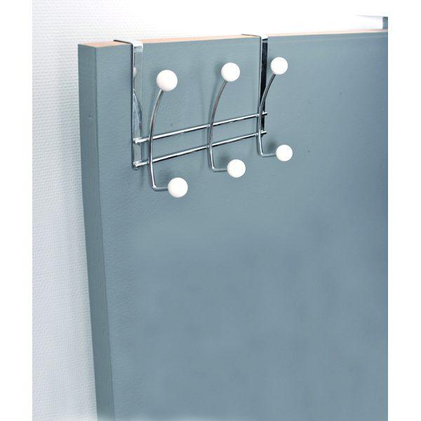 Over the Door 6 Metal Hooks Rack Chrome/White