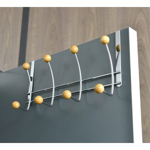 Over the Door 8 Metal Hooks Coat Rack Chrome/Wood