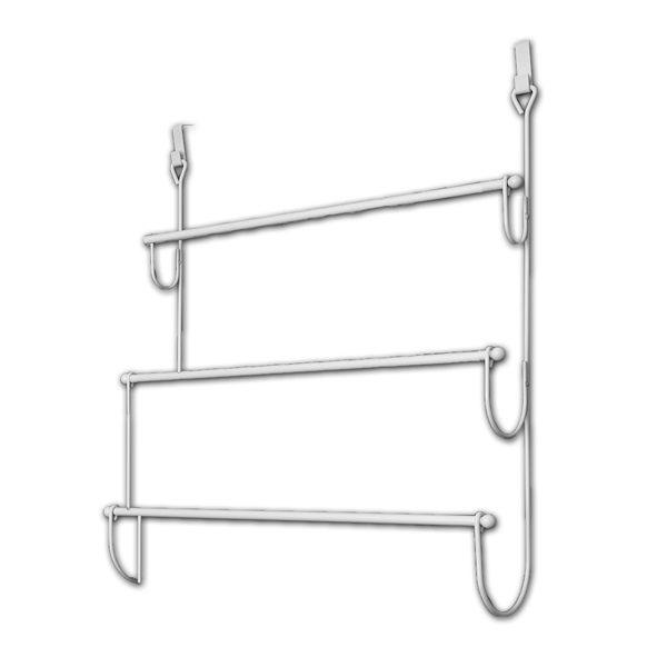 Over the Door Towel Rack Organizer 3 Bars Metal White