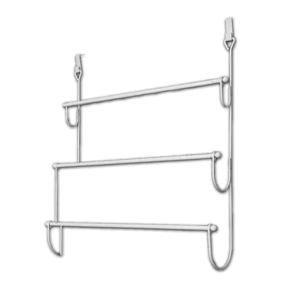 Charmant Over The Door Towel Rack Organizer 3 Bars Metal White