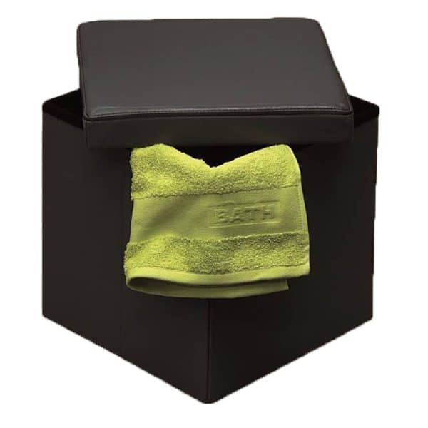 2 in 1 foldable pouffe and storage box-LEATHER look 14 Inches Cube Faux Leather Folding Storage Ottoman Black