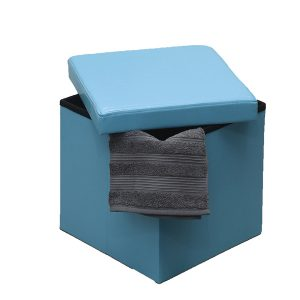 2 in 1 foldable pouffe and storage box - LEATHER look 14 Inches Cube Faux Lea...
