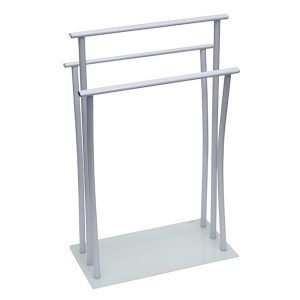 Freestanding Towel Rack Three Bars Tempered White Glass Base