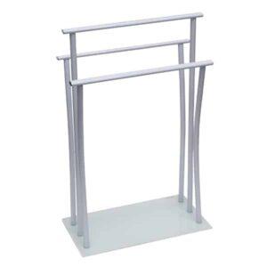 Freestanding Towel Rack Three Bars Tempered White Glass Base