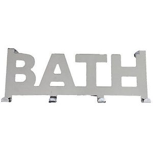 Over the Door 4 Hooks Coat Rack BATH writing Metal Chrome- Mirror Effect