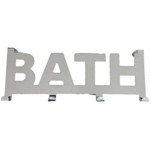 Over the Door 4 Hooks Coat Rack BATH writing Metal Chrome- Mirror Effect