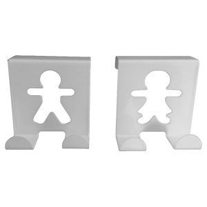 Metal Over Cabinet Door Hooks Fellow Couple up to 3/4''- Set of 2-White