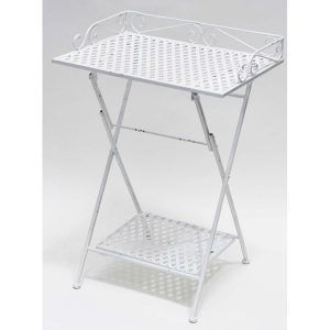 Foldable Vanity Table with 2 Shelves Vintage LE BAIN Old White Metal