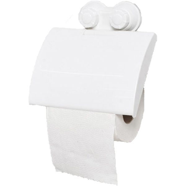 Toilet Tissue Roll Dispenser and Holder with 2 Screw-Top Suction Cups White