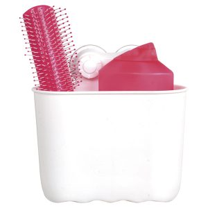Oval Bath Shower Caddy Basket with 2 Screw-top Suction Cups White