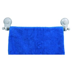 Bath Towel Bar Stainless Steel with 2 Screw-top Suction Cups White