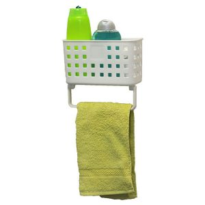 Bath Shower Caddy Basket + 1 Towel Bar with 2 Screw-top Suction Cups White