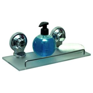 Bath Shower Caddy Frosted Shelf with 2 Screw-Top Suction Cups Chrome