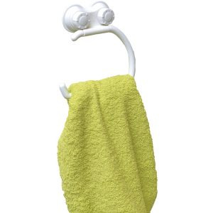 Bath Towel Ring Holder with 2 Screw-Top Suction Cups White