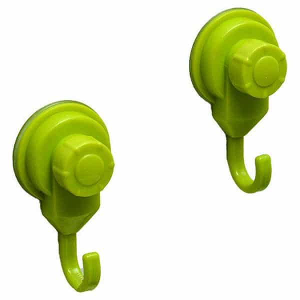 Strong Hold Suction Hooks -Bath-Kitchen-Home- Set of 2 Green